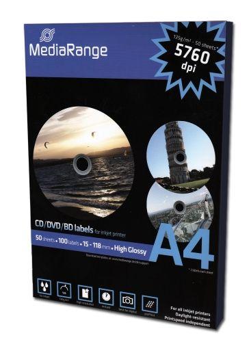 CD-Labels, glossy, 100 Stück-Packung, 15mm Innendurchmesser, Med