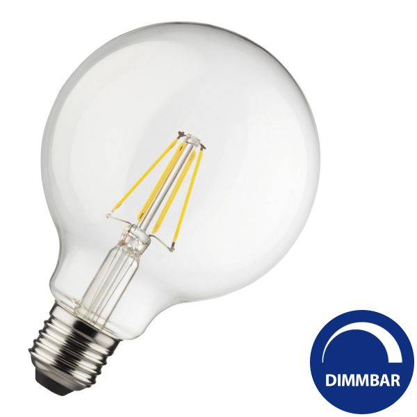 E27 LED-Globe 4W Filament G125, warmweiß dimmbar