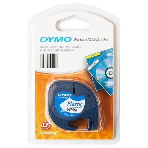 DYMO Letra Tag Etiketten-Band 12 mm x 4 m, Kunststoff, weiß