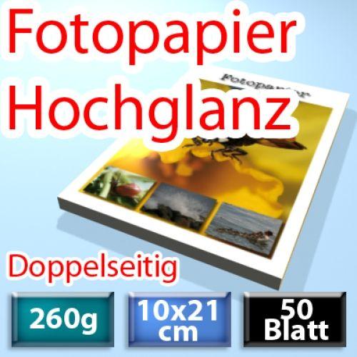 260g Foto-Karten 10*21cm, Glossy, doppelseitig, 50 Blatt