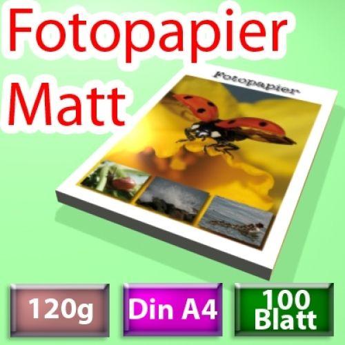 120g Mattes Foto-Papier, Inkjet Din A4, 100 Blatt
