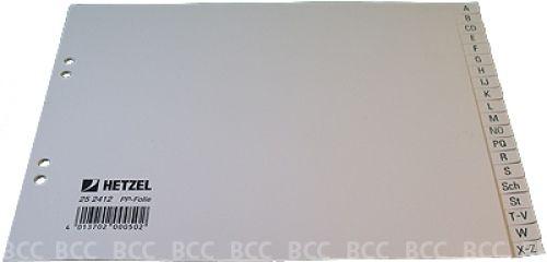 Ordnerregister, 1/2-A4, grau, Buchstaben (A-Z)