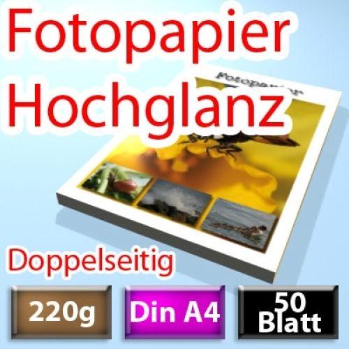 220g High-Glossy Foto-Papier Din A4, doppelseitig 50 Blatt
