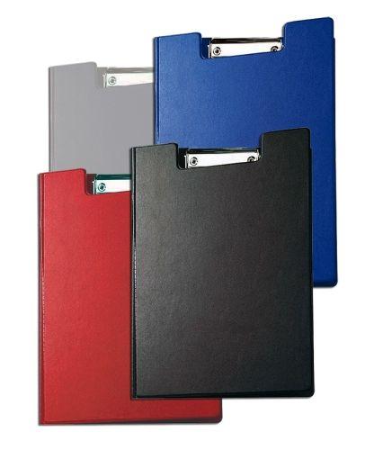 4 Klemmbrett-Mappen A4: blau, rot, schwarz, silber
